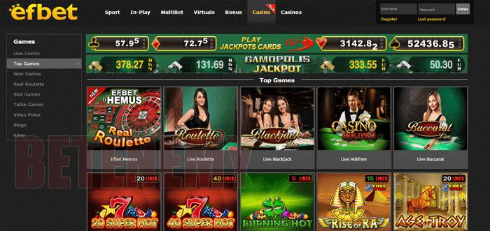 Efbet - пъстра палитра от хазартни игри
